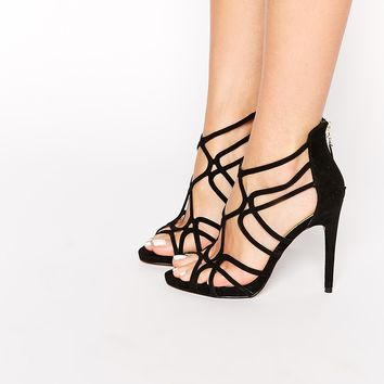 Miss KG Freya Black Multi Strap Heeled Sandals