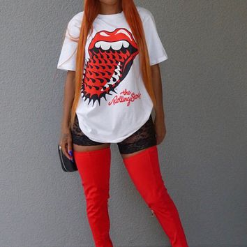 White Red big tongue Print Irregular The Rolling Stones T-Shirt