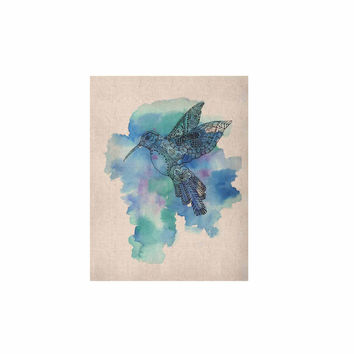 "Sonal Nathwani ""Hummingbird"" Blue Watercolor KESS Naturals Canvas (Frame not Included)"