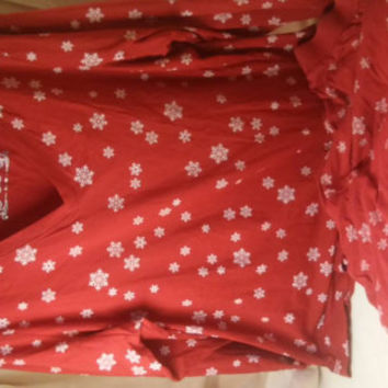 Red white snowflak winter cotton pajamas.