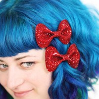 Dark Red Bow Clips, Glitter, Hair A.. on Luulla