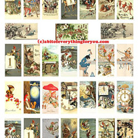 "vintage elf gnomes dwarf domino clipart domino collage sheet 1"" x 2"" inch images digital downloadable domino graphics printables"