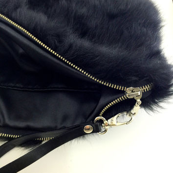 Genuine Fur Clutch Bag with leather wrist strap,valentine's day gift,Black Fur Clutch,Black Clutch Purse,Luxury Clutch,Zippered Clutch