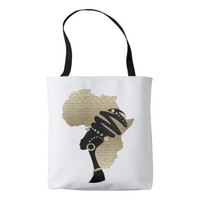 Africa In Gold Tote Bag