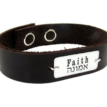 Personalized  Mens Gift / Mens Custom Leather Bracelet / Engraved Mens Wristband