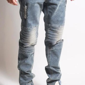 Distress Knee Slim Jeans