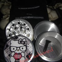 Hello Geek Chick Kitty 4 Piece Grinder Herb Spice Aircraft Grade Aluminum C.N.C from Cognitive Fashioned