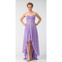 Lilac Bridesmaid High Low Dress A Line Chiffon Sweetheart