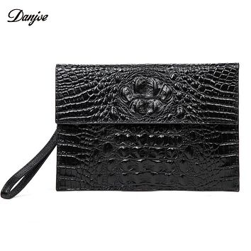 Men Day Clutches Bags Genuine Leather Men Business Bag Alligator Pattern Hand Bag Men Black Trendy Man Phone Wallet