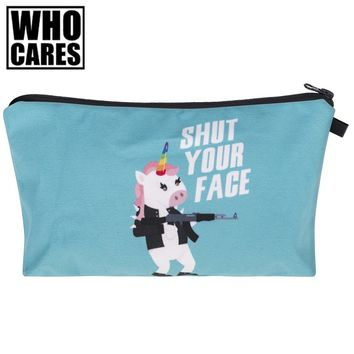Shut your face Unicorn 3D Printing cosmetic bag women toiletry bag 2017 new neceser maquillaje maleta de maquiagem organizer