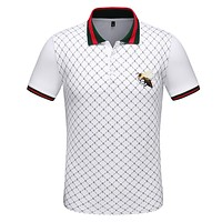 Gucci Newest Trending Men Casual Bee Embroidery Lapel Shirt Top White
