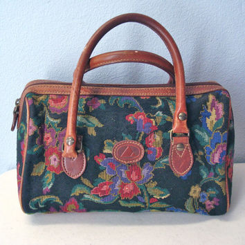 80s Liz CLAIBORNE tapestry handbag purse leather trim satchel bag