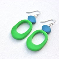 Funky green blue earrings colorful jewelry fun abstract dangle earrings