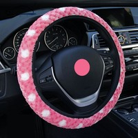 2016 new arrivals pink Snowflakes cashmere car steering wheel covers warm winter fashion popular wheel cover women men girl