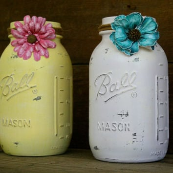 Home and Wedding Decor - Painted, Distressed Mason Jar, Vase or Organization