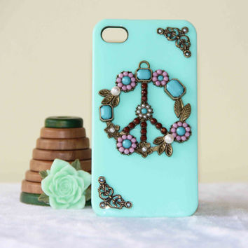 protective phone case anti war peace sign  flowers pearl case for  iPhone 5s iPhone 5 iPhone 4 iPhone 4s friendship love gifts trending