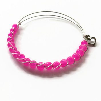 CHILD SIZE Hot Pink Beaded Expandable Bracelet Hot Pink Beaded Stacking Bracelet Little Girls' Beaded Stacking Heart Charm Bracelet (LG9)