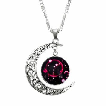 Jewelry Choker Necklace Glass Galaxy Lovely necklaces & pendants Silver Chain Moon Necklace