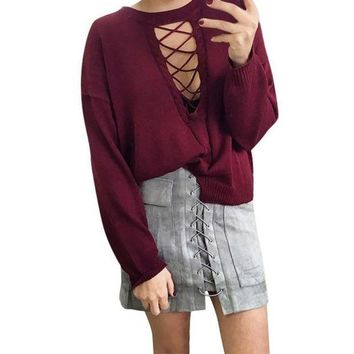 PEAPYV3 Women Autumn Lace Up Suede Leather  Skirt 90's Vintage Pocket Preppy Short Skirt Winter High Waist Casual Mini Skirts
