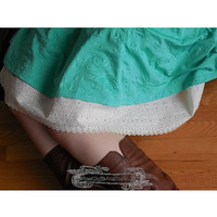 scalopped eyelet slip extender, skirt extender, Lace Extender, cotton slip extender for skirt, Please Write White or Cream when at checkout