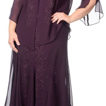 R&M Richards Plus Size Long Formal Mother of the Bride Dress Made in USA