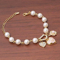 17cm Fashion Gold Pearl Love Heart Crystal Rhinestone pendants Bracelet Bangle