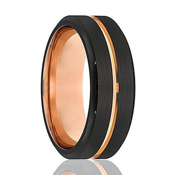 Men's Black Tungsten Wedding Band With Rose Gold Grooved Center Beveled Edges - 8mm