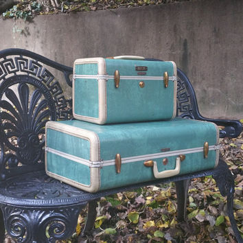 Vintage Samsonite Marbled Green Luggage Set Train Case Overnight Case