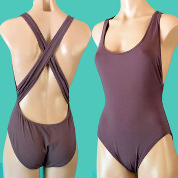 Womens One Piece Swimsuit / 90s Vintage Calvin Klein Designer Maillot Retro Bathing Suit / Strappy Plunge Back Swim Suit S / M