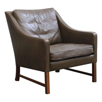 Pre-owned Danish Tall Back Leather Lounge Chair