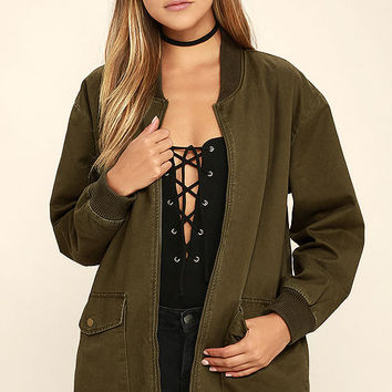 Light Beam Olive Green Oversized Bomber Jacket