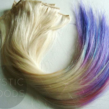 Platinum Blonde / Candy Tips 18''-20'' Dip-Dye Human Hair Extensions //Clip In