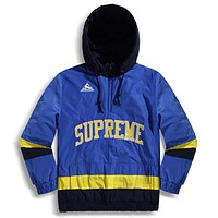 Supreme New Fashion High Quality Letter Women Men Splice Contrast Color Hooded Long Sleeve Top Coat Blue