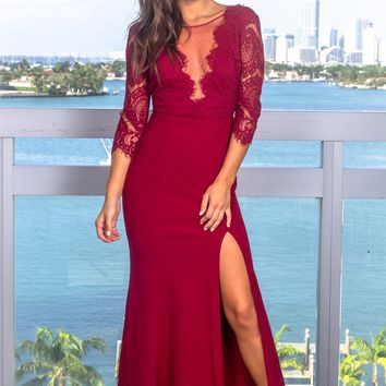 Burgundy Lace Top Maxi Dress with Silver Detail