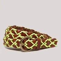 AEO Braided Neon Leather Belt | American Eagle Outfitters