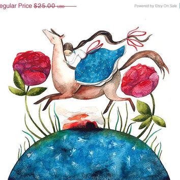 ON SALE Dreams Horse Girl Roses Floral Blue Burgundy Brown Print Illustration Watercolor Nursery Wall Art