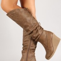 Corset Slouchy Knee High Wedge Boot