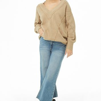 Seamed Brushed Knit Sweater
