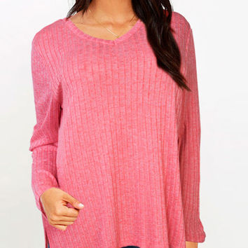Casual V Neck Loose Thin Slit Wool Knitted Sweater Long in Back Short in Front