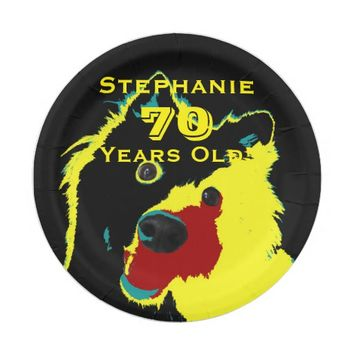 Happy Yellow Dog Paper Plates, 70th Birthday Party Paper Plate