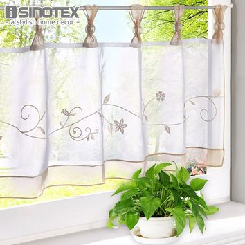 Tulle Curtains Embroidery Floral Printing Sheer Window Curtains For the Kitchen Living Room Bedroom Voile Screening Panel Drape