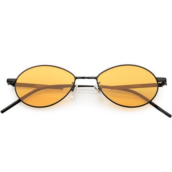Retro 1990's Small Oval Metal Color Tone Sunglasses C742