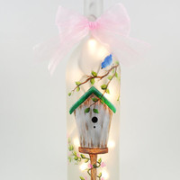 Lighted Wine Bottle Birdhouse Blue Bird Hand Painted Frosted / Etched Lighted Wine Bottle 750ml