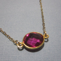 Raspberry Quartz Bezel Gold Necklace by by MarisaLeeDesigns