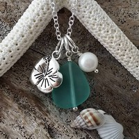 """Handmade in Hawaii, """"March Birthstone"""" Aqua sea glass necklace,  Freshwater pearl, Hibiscus charm, Sterling silver chain, Gift for her."""