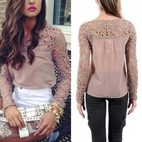 Moxeay Women's Casual Long Sleeve Shirt Lace Crochet Embroidery Blouse