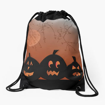 'Halloween Pumpkins' Drawstring Bag by umeimages