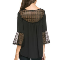 Lace contrast bell sleeve blouse Black