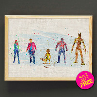 Guardians of the Galaxy Watercolor Art Print Marvel Superhero Poster House Wear Wall Decor Gift Linen Print Buy 2 Get 1 FREE - 114s2g