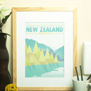 New Zealand - Haere Mai Travel Poster, Wall Art, Modern Home Decor, Wall Art, Art Deco
